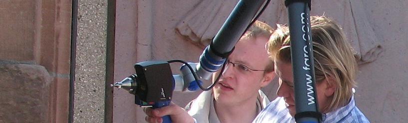 Übung bei Prof. Dr.-Ing. Schlüter mit Faro 3D-Messarm und 3dscanners Scankopf